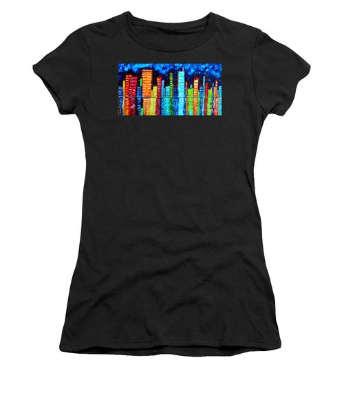 Abstract Art Landscape City Cityscape Textured Painting City Nights II By Madart Women's T-Shirt