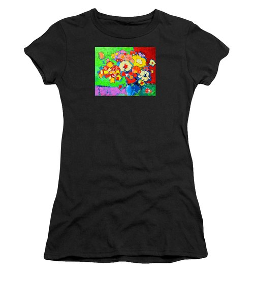 Abstract Colorful Flowers Women's T-Shirt