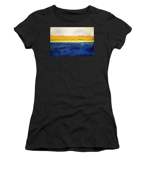 Abstract Dunes With Blue And Gold Women's T-Shirt (Athletic Fit)