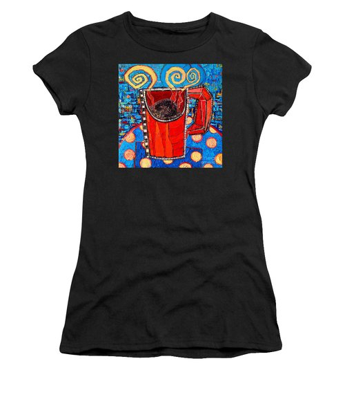 Abstract Hot Coffee In Red Mug Women's T-Shirt (Athletic Fit)