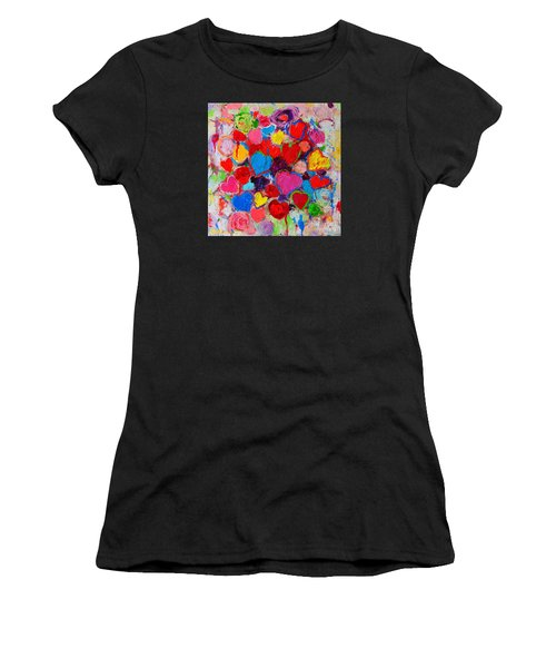 Abstract Love Bouquet Of Colorful Hearts And Flowers Women's T-Shirt