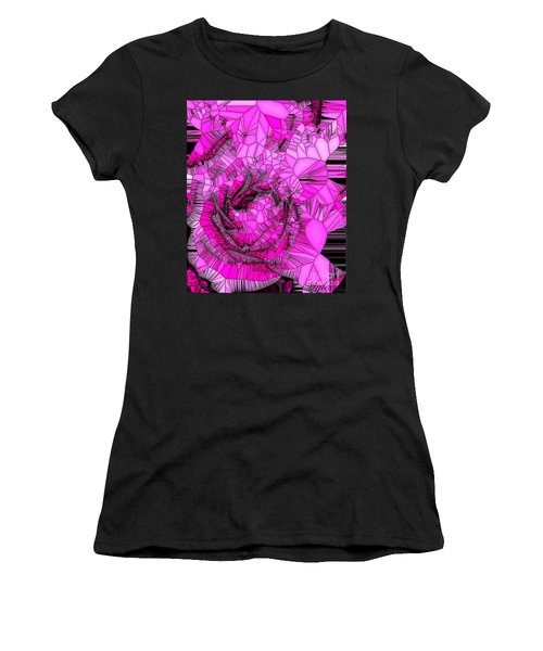 Abstract Pink Rose Mosaic Women's T-Shirt (Athletic Fit)
