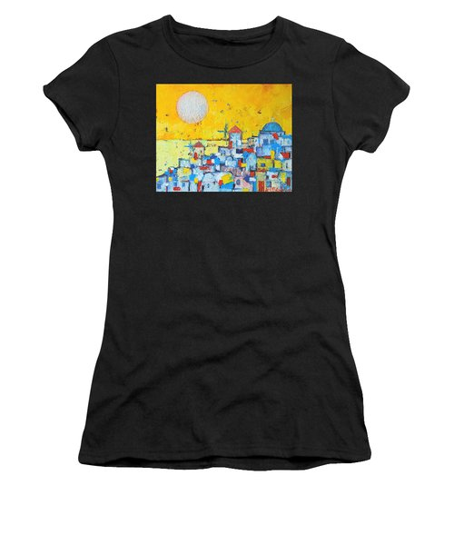 Abstract Santorini - Oia Before Sunset Women's T-Shirt (Athletic Fit)