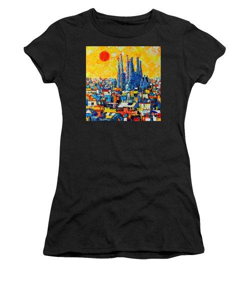 Abstract Sunset Over Sagrada Familia In Barcelona Women's T-Shirt