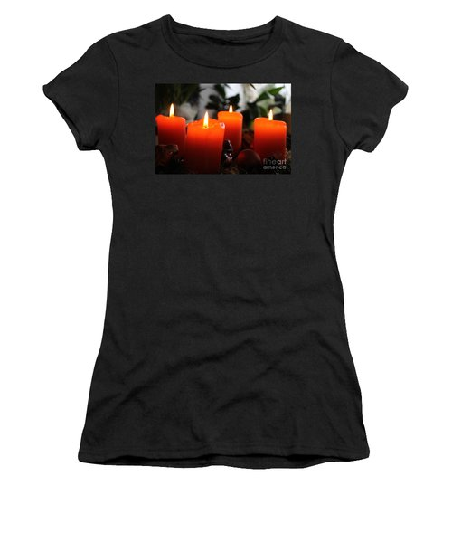 Women's T-Shirt (Junior Cut) featuring the photograph Advent Candles Christmas Candle Light by Paul Fearn