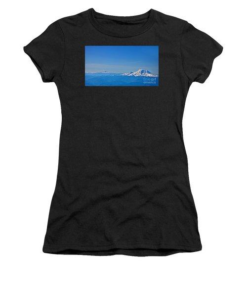 Aerial View Of Mount Rainier Volcano Art Prints Women's T-Shirt (Athletic Fit)