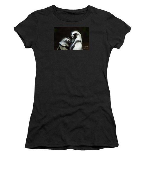African Black-footed Penquin-signed-#8081 Women's T-Shirt (Junior Cut) by J L Woody Wooden