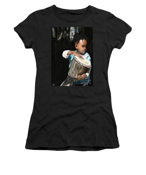African Drummer Boy Women's T-Shirt (Athletic Fit)