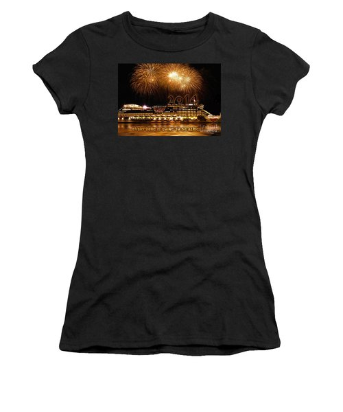 Women's T-Shirt (Junior Cut) featuring the photograph Aida Cruise Ship 2014 New Year's Day New Year's Eve by Paul Fearn