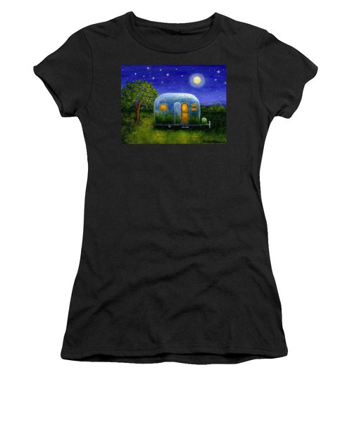 Women's T-Shirt (Junior Cut) featuring the painting Airstream Camper Under The Stars by Sandra Estes