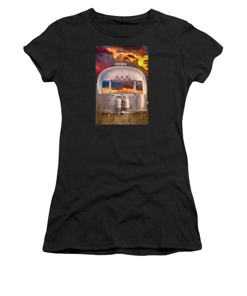 Airstream Travel Trailer Camping Sunset Window View Women's T-Shirt (Athletic Fit)