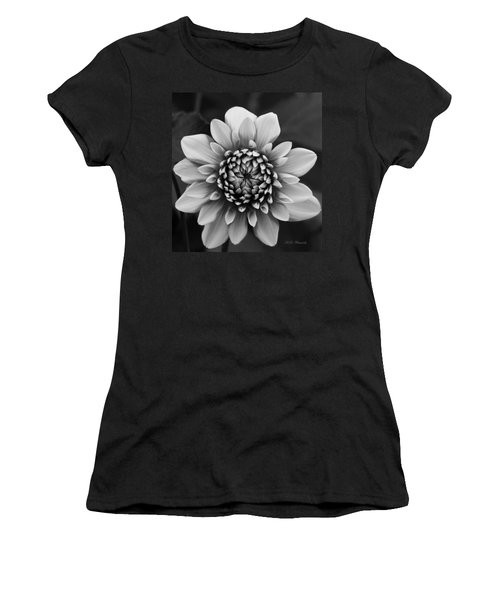 Ala Mode Dahlia In Black And White Women's T-Shirt (Athletic Fit)