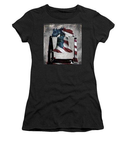 All American Liberty Bell Art_denim Women's T-Shirt (Athletic Fit)