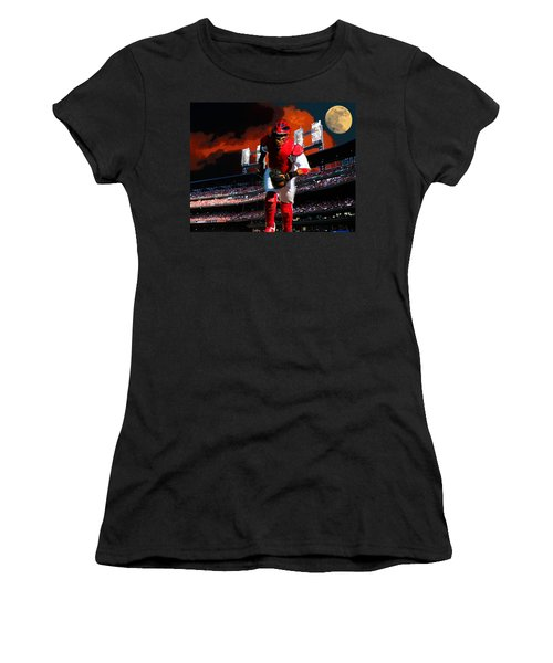 Women's T-Shirt (Junior Cut) featuring the photograph All Star Yadier Molina by John Freidenberg