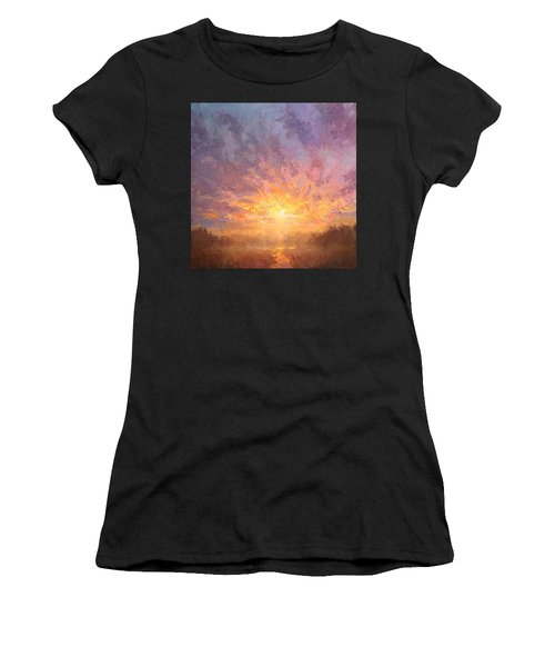 Impressionistic Sunrise Landscape Painting Women's T-Shirt (Athletic Fit)