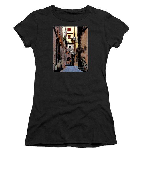 Women's T-Shirt (Junior Cut) featuring the digital art Alley In Florence 2 Digitized by Jennie Breeze