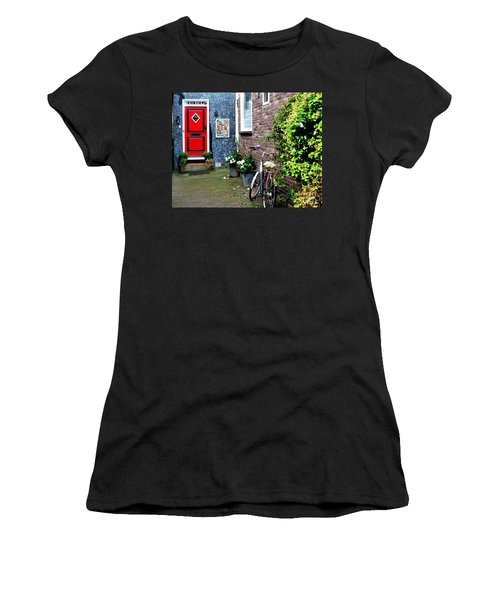 Women's T-Shirt (Junior Cut) featuring the photograph Alleyway In Dutch Village by Joe  Ng