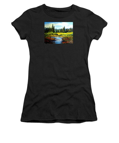 Women's T-Shirt (Junior Cut) featuring the painting Alpine Meadow by Hazel Holland
