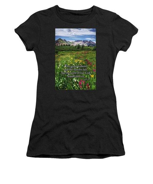 Alpine Meadow Women's T-Shirt (Junior Cut) by Priscilla Burgers