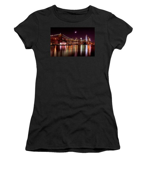 Women's T-Shirt (Junior Cut) featuring the photograph Amazing New York Skyline And Brooklyn Bridge With Moon Rising by Mitchell R Grosky
