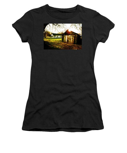 American Fabric   Mickey Mantle's Childhood Home Women's T-Shirt (Junior Cut) by Iconic Images Art Gallery David Pucciarelli