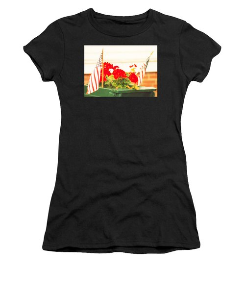American Flags And Geraniums In A Wheelbarrow In Maine, One Women's T-Shirt (Athletic Fit)