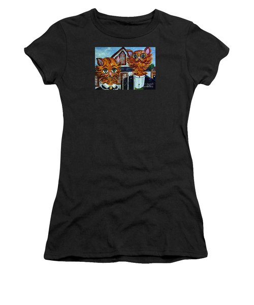 Women's T-Shirt (Junior Cut) featuring the painting American Gothic Cats - A Parody by Eloise Schneider