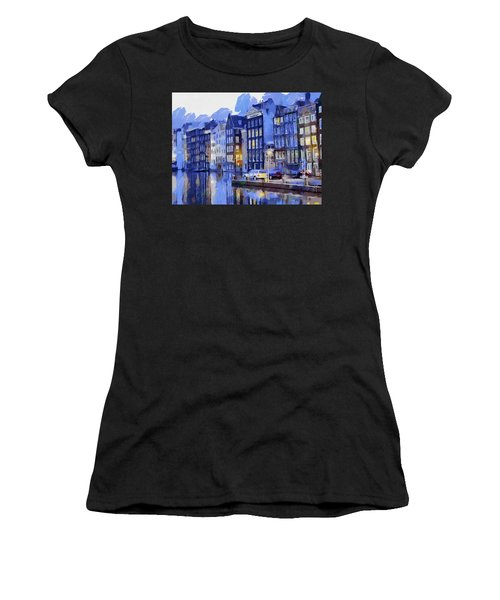 Amsterdam With Blue Colors Women's T-Shirt (Athletic Fit)