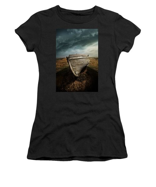An Old Wreck On The Field. Dramatic Sky In The Background Women's T-Shirt (Athletic Fit)