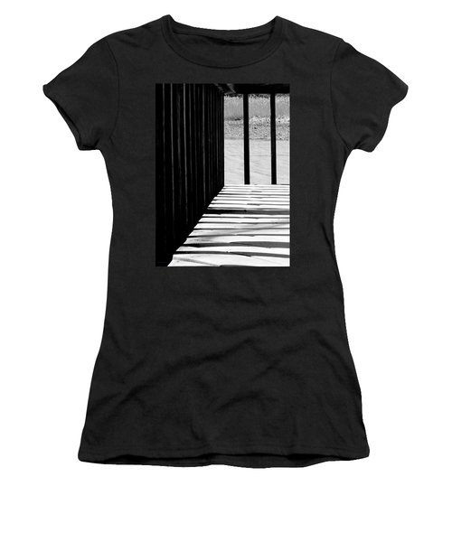 Women's T-Shirt (Junior Cut) featuring the photograph Angles And Shadows - Black And White by Shawna Rowe