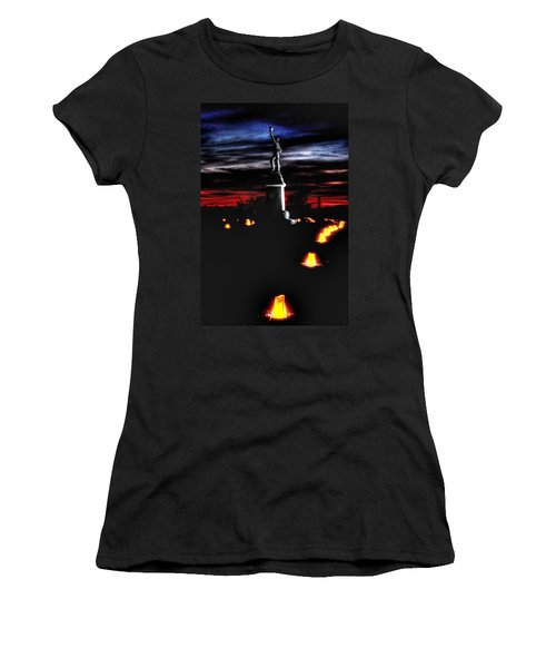 Women's T-Shirt (Junior Cut) featuring the photograph Antietam Memorial Illumination - 3rd Pennsylvania Volunteer Infantry Sunset by Michael Mazaika