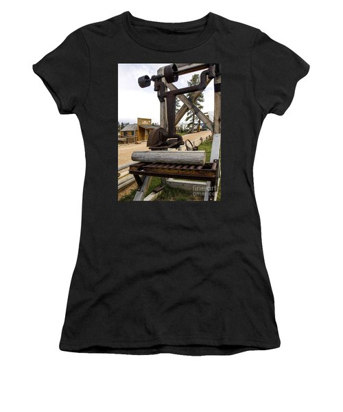 Women's T-Shirt (Junior Cut) featuring the photograph Antique Table Saw Tool Wood Cutting Machine by Paul Fearn