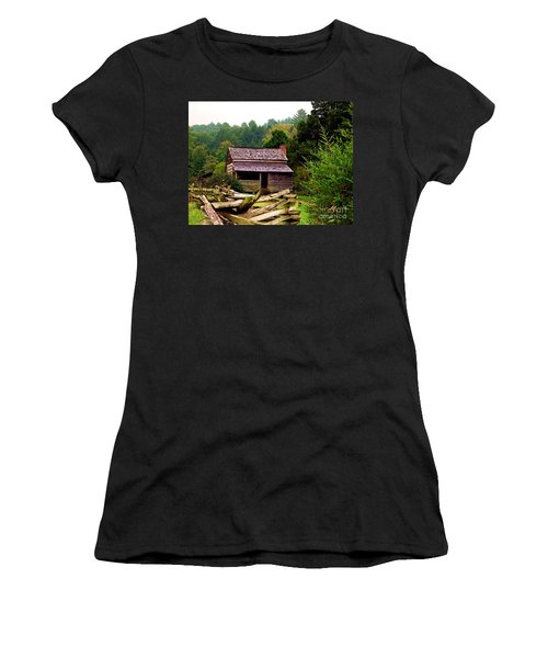 Appalachian Cabin With Fence Women's T-Shirt (Junior Cut) by Desiree Paquette