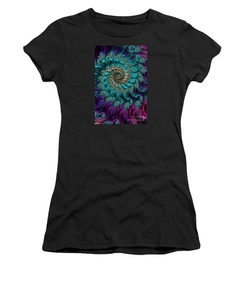 Aqua Swirl Women's T-Shirt (Junior Cut) by Steve Purnell