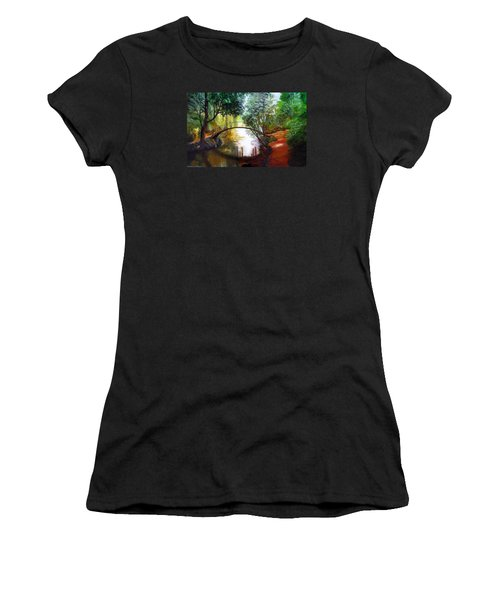 Arched Bridge Over Brilliant Waters Women's T-Shirt (Junior Cut) by LaVonne Hand