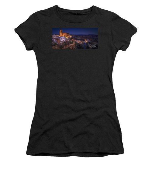 Arcos De La Frontera Panorama From Balcon De La Pena Cadiz Spain Women's T-Shirt (Athletic Fit)