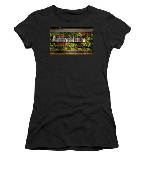Arrival Sign Arrow And Flowers At Singapore Changi Airport Women's T-Shirt (Athletic Fit)