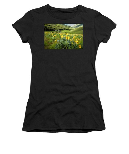 Women's T-Shirt (Junior Cut) featuring the photograph Arrow Leaf Balsam Root by Jack Bell