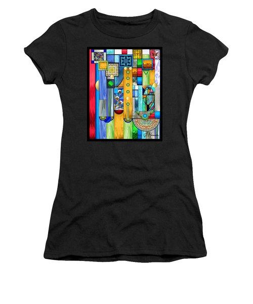 Art Deco Stained Glass 1 Women's T-Shirt (Junior Cut) by Ellen Henneke