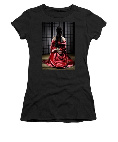 Asian Woman With Her Hands Tied Behind Her Back Women's T-Shirt (Athletic Fit)