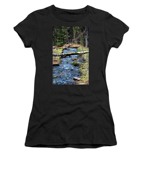 Women's T-Shirt (Junior Cut) featuring the photograph Aspen Crossing Mountain Stream by Barbara Chichester
