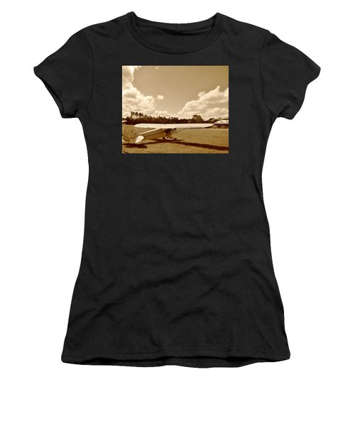 At The Airfield Women's T-Shirt (Junior Cut) by Jean Goodwin Brooks