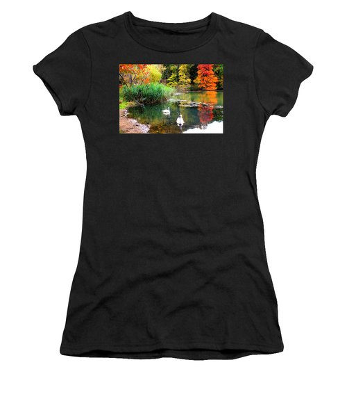 Autumn By The Swan Lake Women's T-Shirt (Athletic Fit)