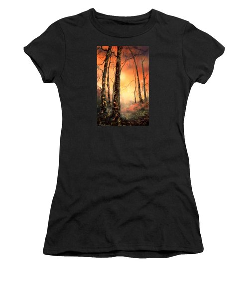 Women's T-Shirt (Junior Cut) featuring the painting Autumn Glow by Jean Walker
