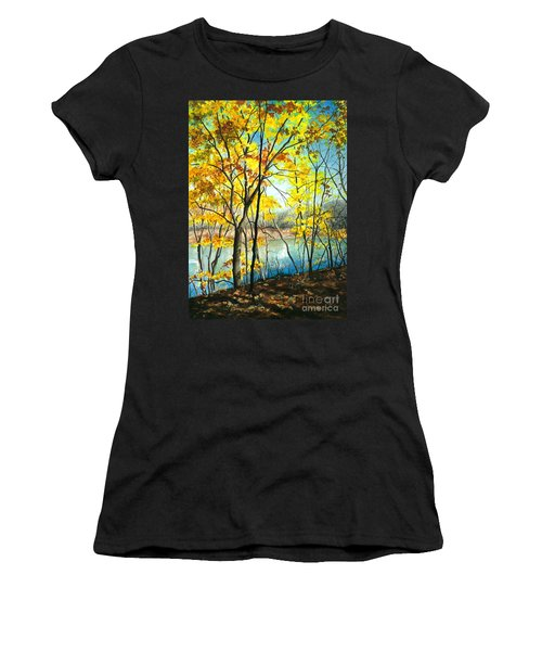 Autumn River Walk Women's T-Shirt (Athletic Fit)