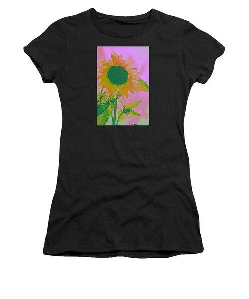 Autumn's Sunflower Pop Art Women's T-Shirt (Athletic Fit)
