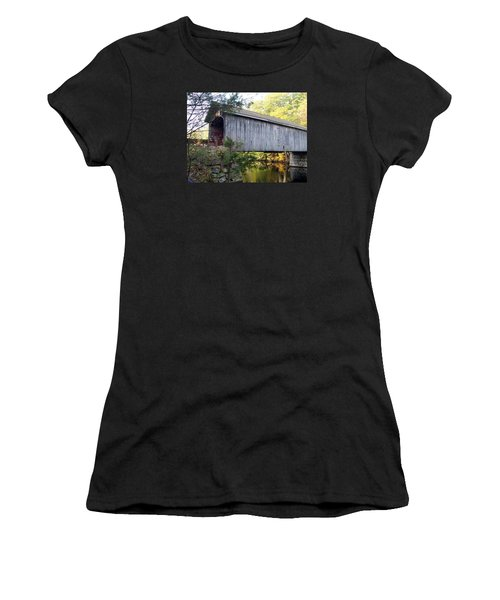 Babbs Covered Bridge In Maine Women's T-Shirt (Junior Cut) by Catherine Gagne