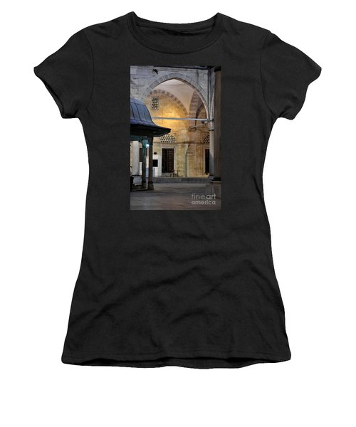 Women's T-Shirt (Junior Cut) featuring the photograph Back Lit Interior Of Mosque  by Imran Ahmed