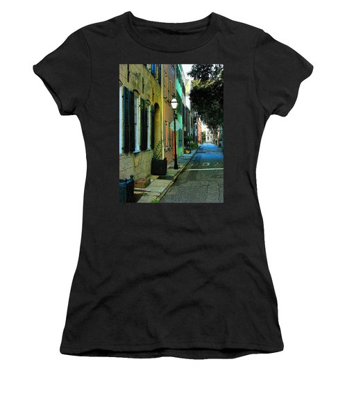 Women's T-Shirt (Junior Cut) featuring the photograph Back Street In Charleston by Rodney Lee Williams