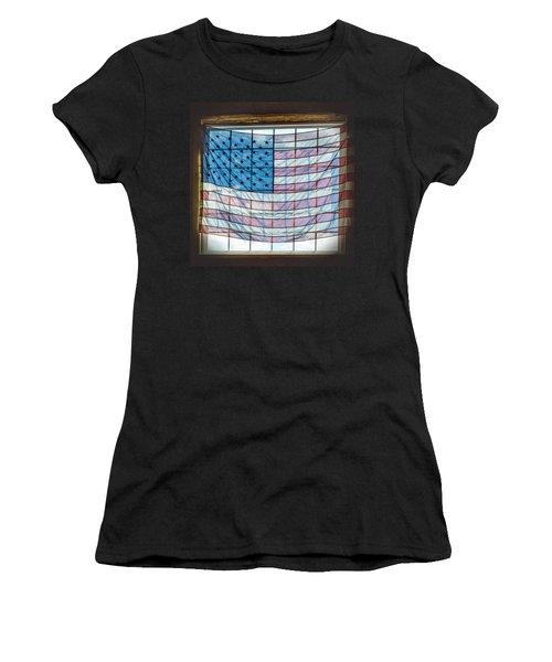 Backlit American Flag Women's T-Shirt (Athletic Fit)